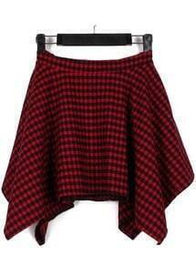 Red Plaid Asymmetrical Skirt