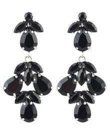 Black Gemstone Silver Dangle Earrings