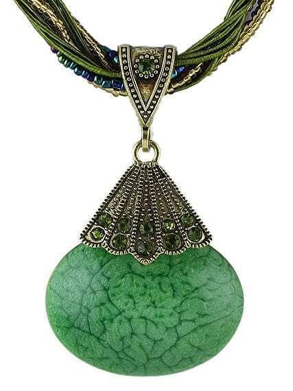 Green Gemstone Pendant Necklace
