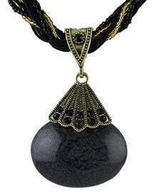 Black Gemstone Pendant Necklace