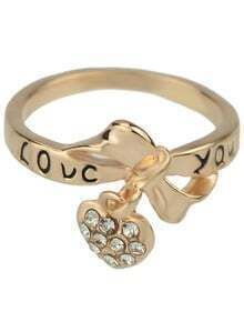 Gold With Diamond Heart Ring