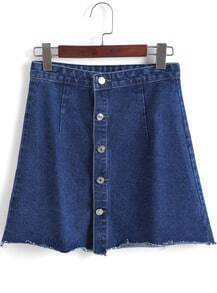 Navy Buttons Denim Skirt