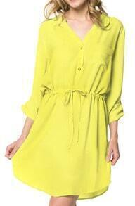 Yellow V Neck Drawstring Shirt Dress