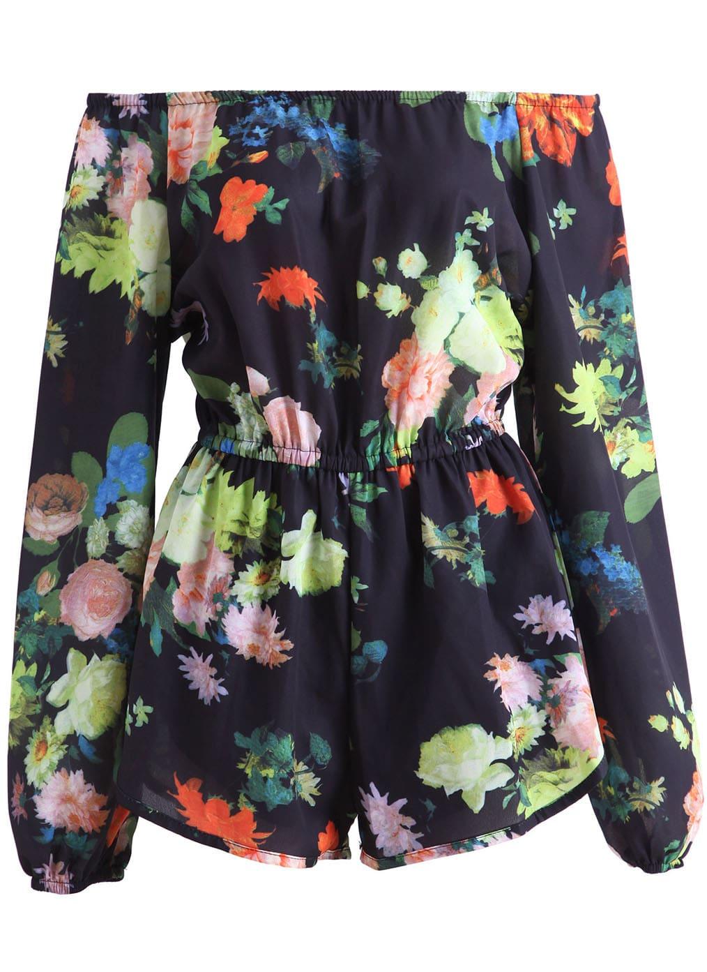 Black Boat Neck Floral Chiffon Jumpsuit