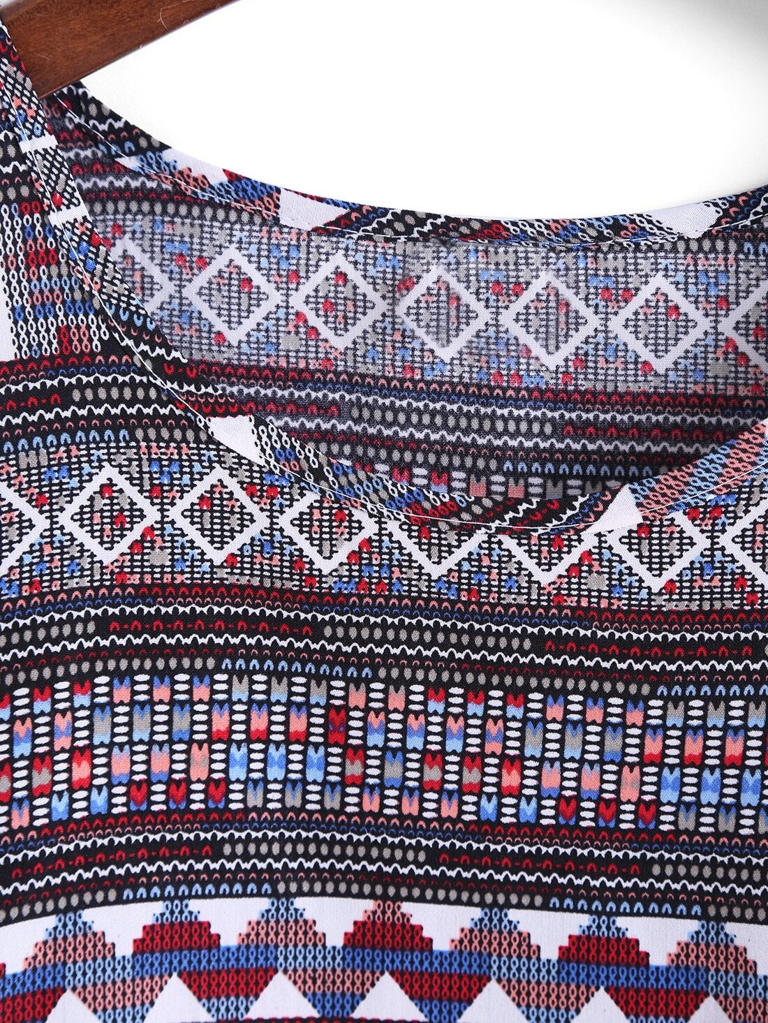 Red Round Neck Tribal Print Tank Top -SheIn(Sheinside)