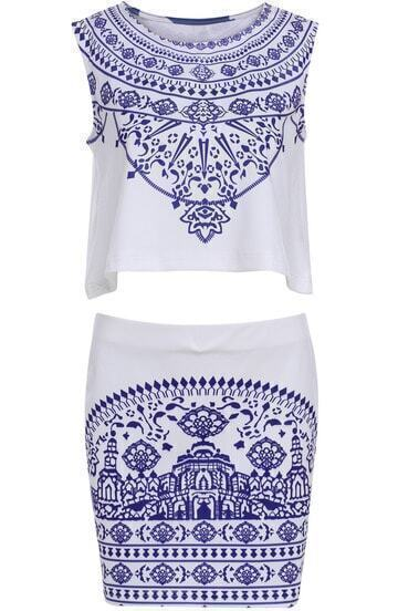 White Sleeveless Floral Crop Top With Bodycon Skirt
