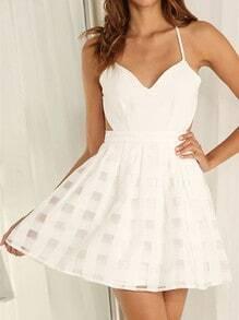 White Spaghetti Strap Backless Flare Dress