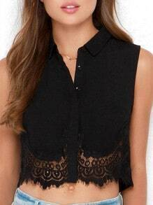 Black Sleeveless With Lace Crop Top