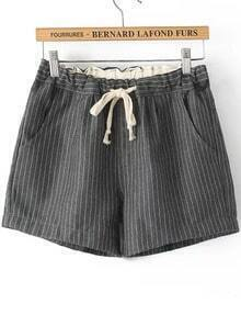 Grey Drawstring Waist Vertical Stripe Shorts