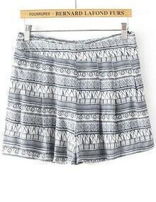 Grey Geometric Print Loose Shorts