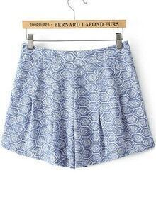 Blue Tribal Print Loose Shorts