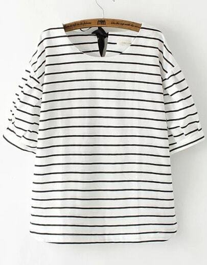 White Short Sleeve Striped Knotted Loose T-Shirts