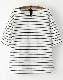 White Short Sleeve Striped Knotted Loose Blouse