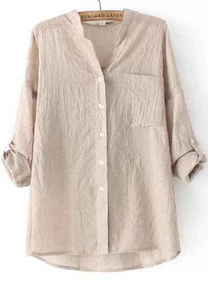 Apricot Stand Collar Pocket Loose Blouse