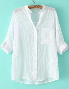 White Stand Collar Pocket Loose Blouse
