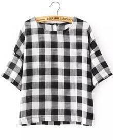 Black White Checkerboard Round Neck Plaid Blouse