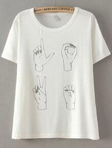 White Short Sleeve Hand Print Loose T-Shirt