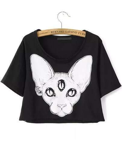 Black Short Sleeve Dog Print Crop T-Shirt