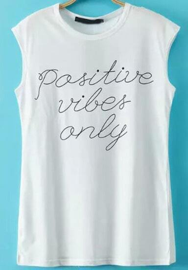 White Sleeveless Letters Print Casual T-Shirt