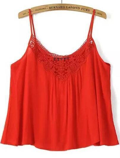 Orange Spaghetti Strap Floral Crochet Cami Top