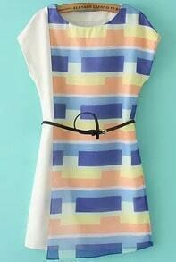 Multicolor Geometric Print Asymmetrical Belt Dress