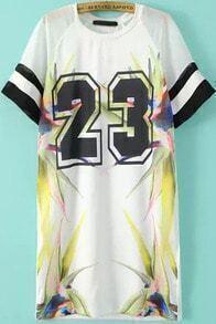 White Short Sleeve Floral 23 Number Comfort Racewear Monogrammed Print Dress