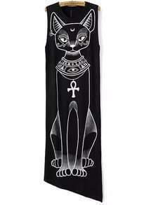 Black Sleeveless Cat Print Asymmetrical Dress