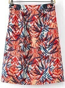 Red Pockets Leaves Print Skirt