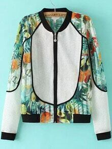 Multicolor Hollow Floral Crop Jacket