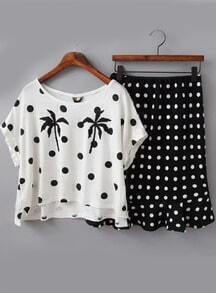 White Polka Dot Tree Print Top With Black Ruffle Skirt
