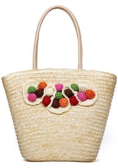 Beige Flowers Embellished Weave Tote Bag