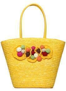 Yellow Flowers Embellished Weave Tote Bag