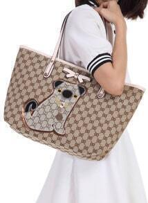 Coffee Dog Pattern Bow Tote Bag
