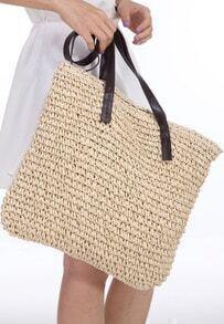 Beige Contrast Straps Weave Tote Bag