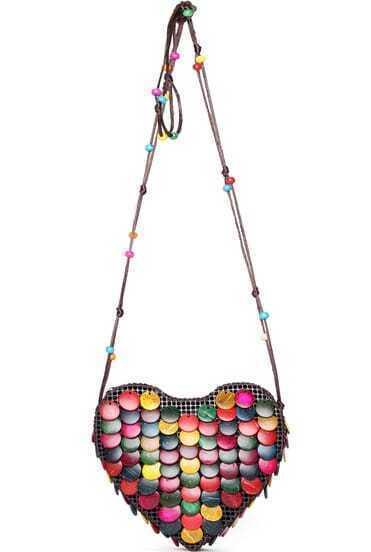 Multicolor Round Embellished Heart Satchels Bag