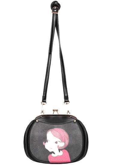Black Girl Print PU Satchels Bag