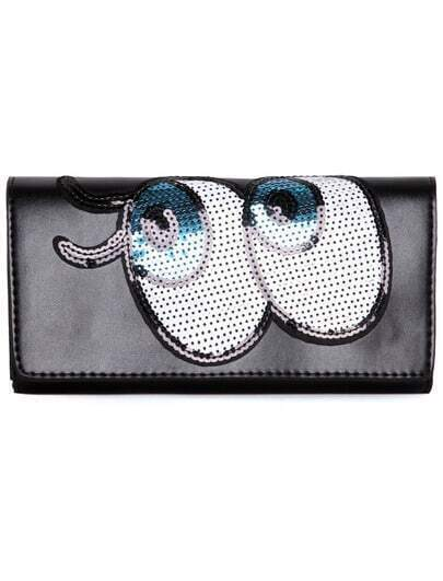 Black Sequined Eye Pattern Clutches Bag