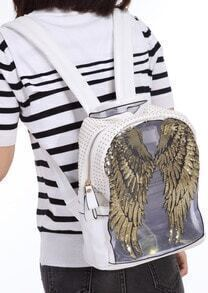 White Sequined Wing PU Backpack