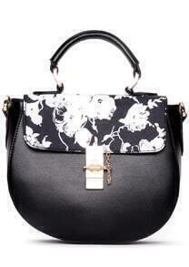 Black Metal Buckle Floral PU Bag