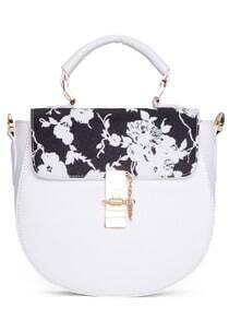 White Metal Buckle Floral PU Bag