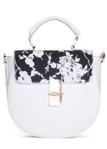 White Metal Buckle Floral PU Bag