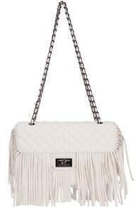 White Chain Tassel PU Bag