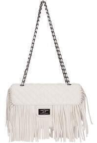 White Chain Tassel PU Bag