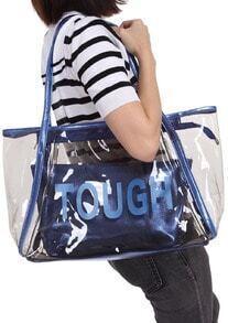 Blue TOUGH Print Sheer Bag