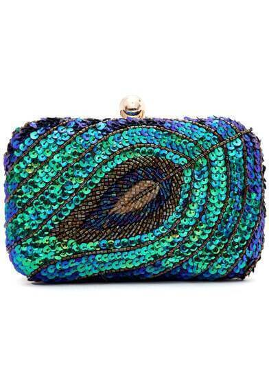 Multicolor Sequined Bead Clutches Bag