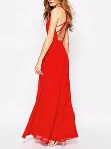 Red Spaghetti Strap Cross Back Maxi Dress