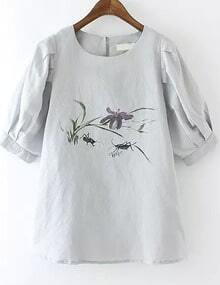 Grey Half Sleeve Insect Print Blouse