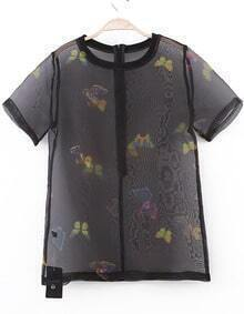 Black Short Sleeve Butterfly Print Sheer Mesh Blouse