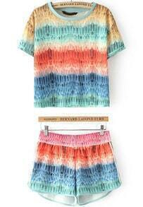Multicolor Short Sleeve Feather Print Top With Shorts