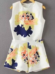 White Sleeveless Floral Top With High Waist Shorts